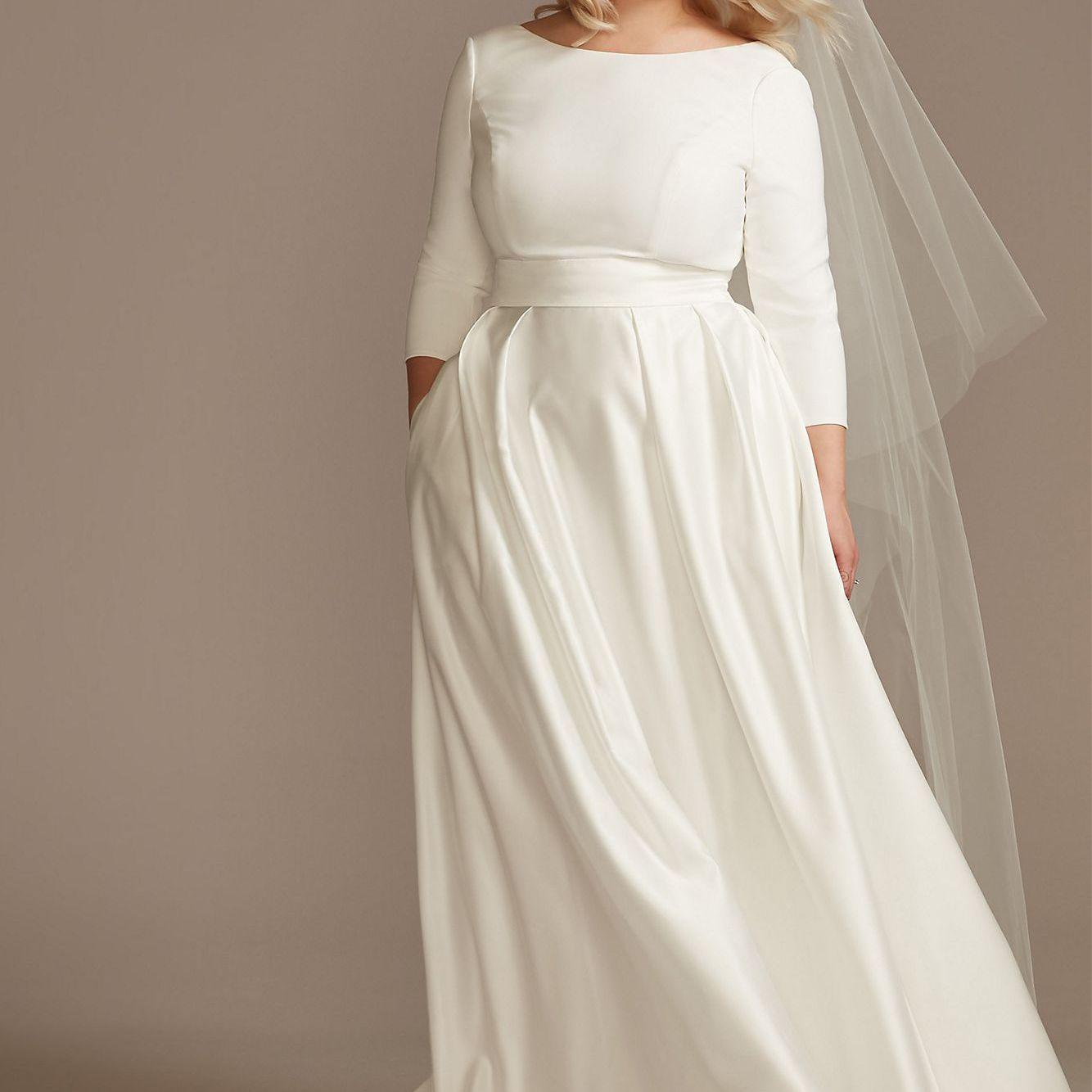 Mid-Sleeve Satin Plus Size Wedding Dress