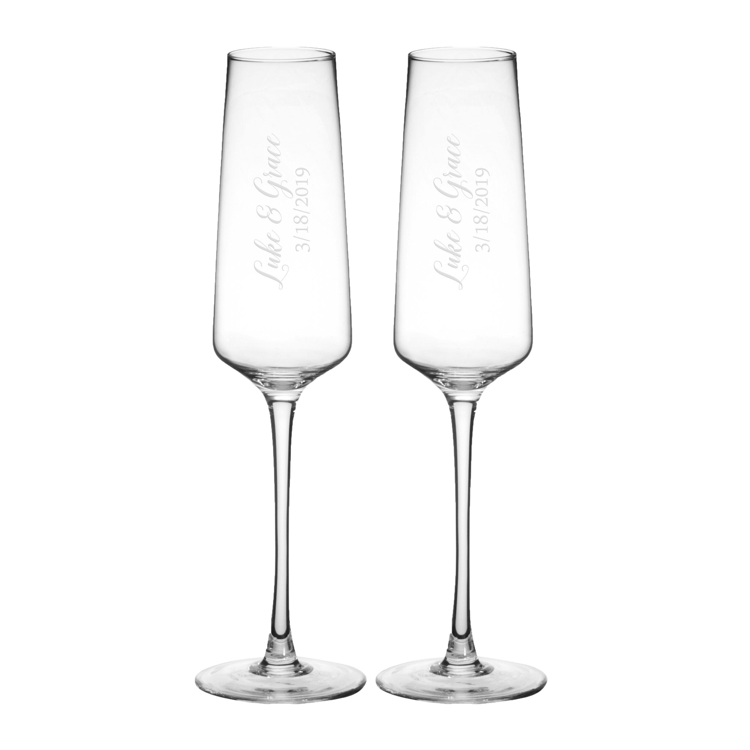 Clear Personalized Glass Flute Set