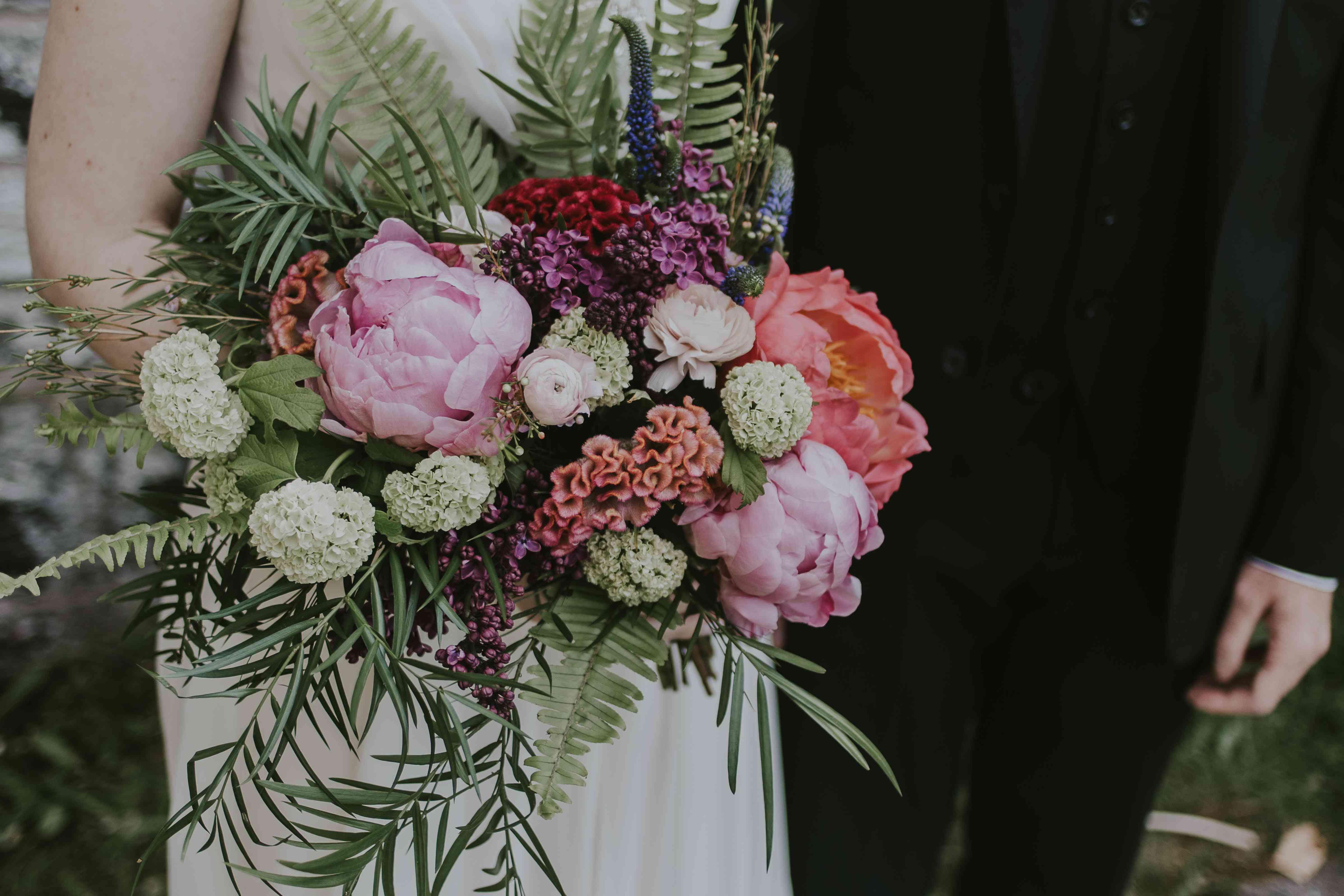 Peony bouquet with wildflowers