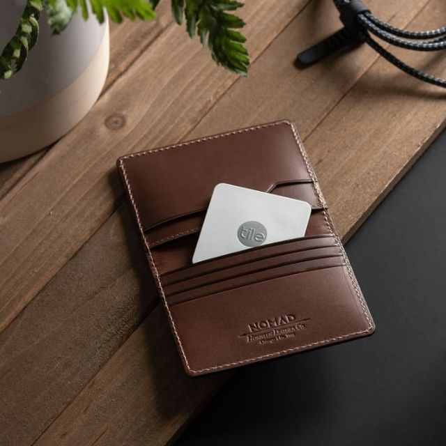 Nomad Slim Leather Wallet with Tile Tracking