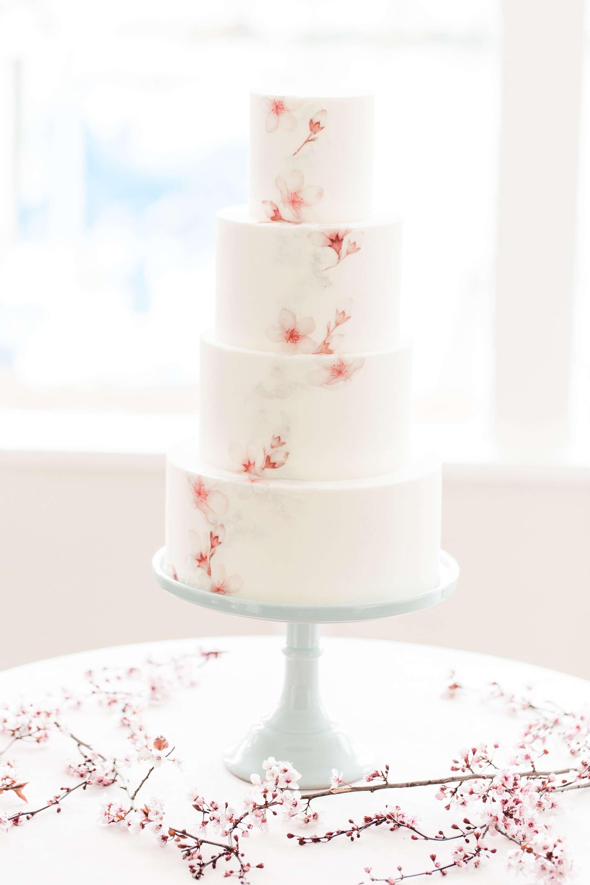white cherry blossom wedding cake