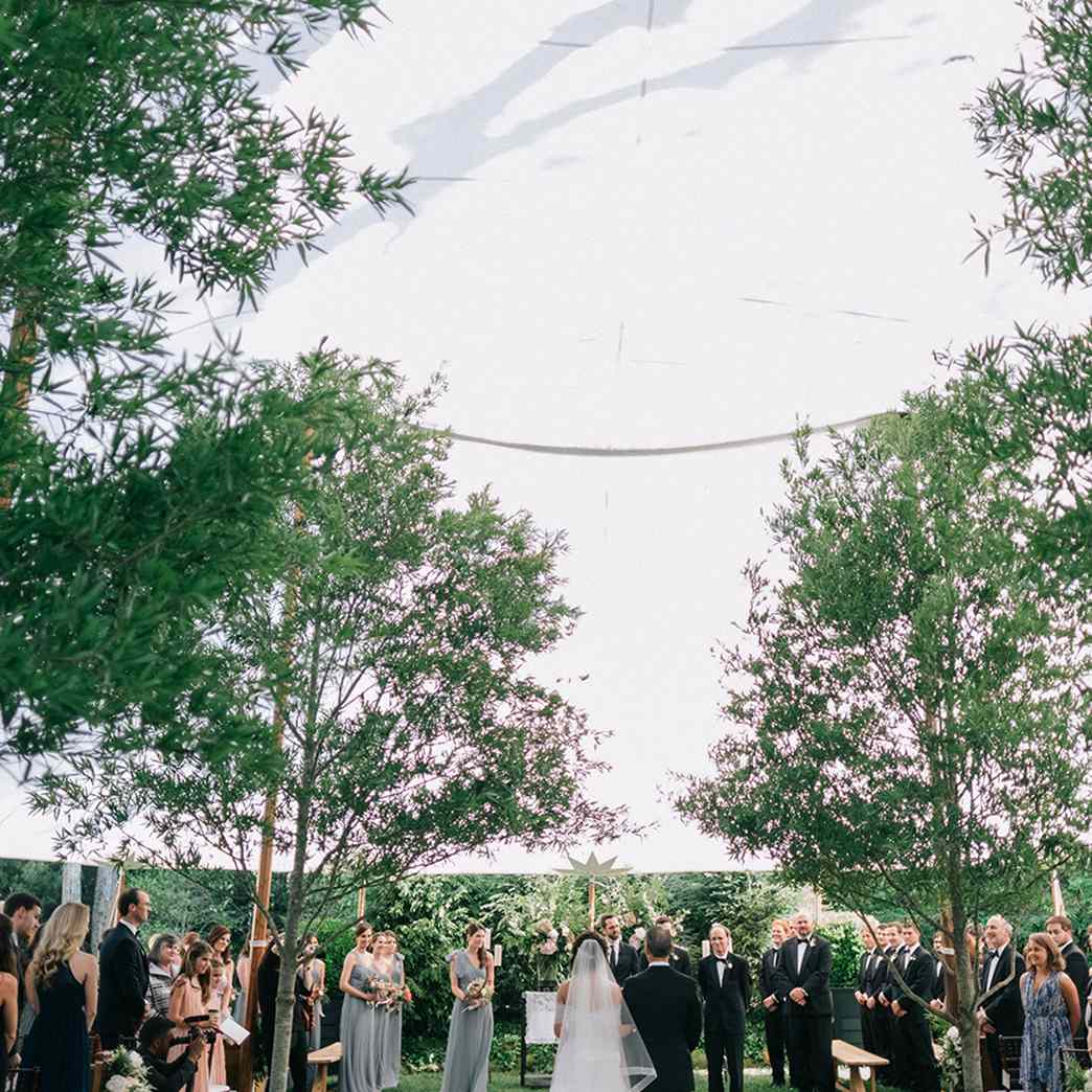 Wedding aisle lined with trees on each side