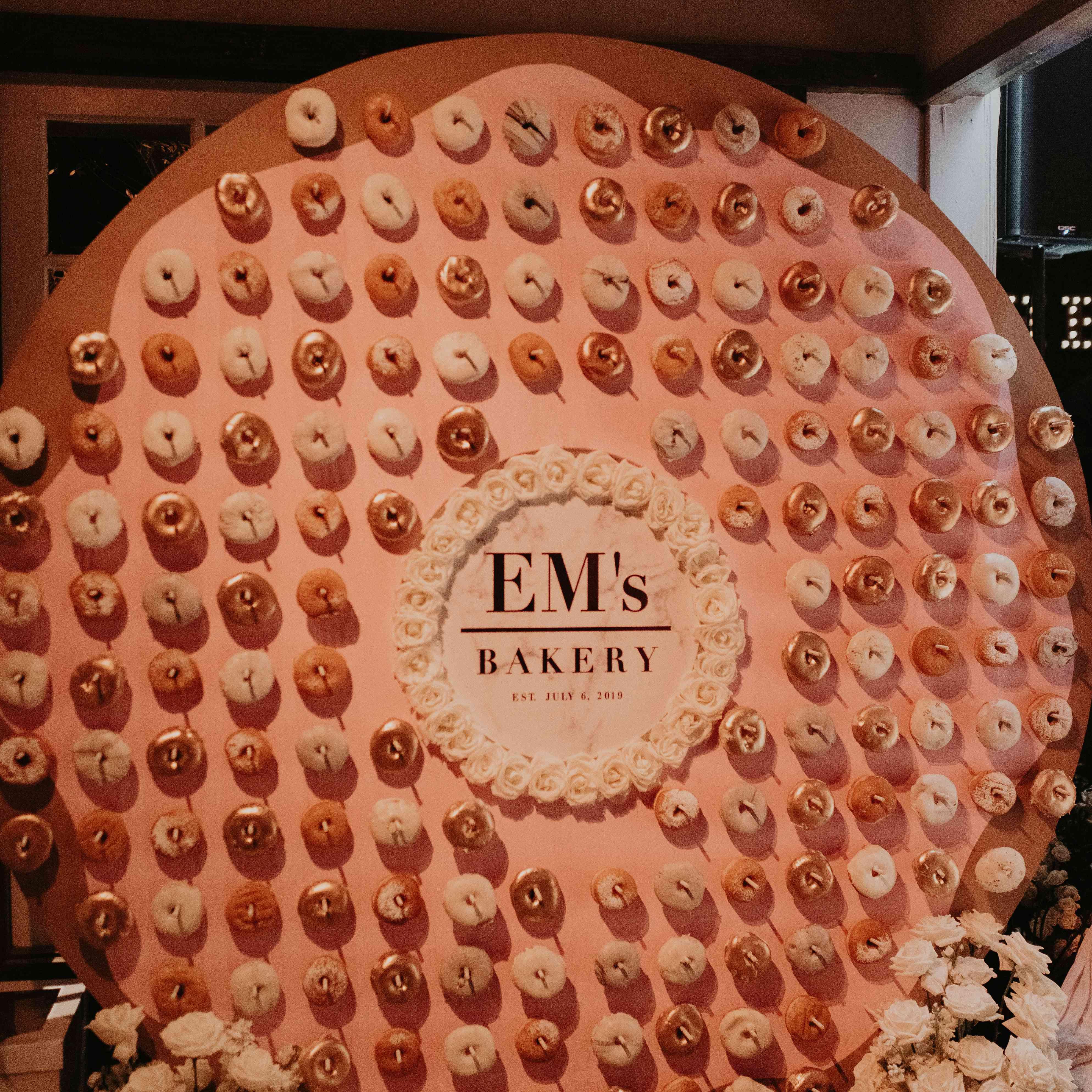 Baker Mayfield wedding, doughnut wall