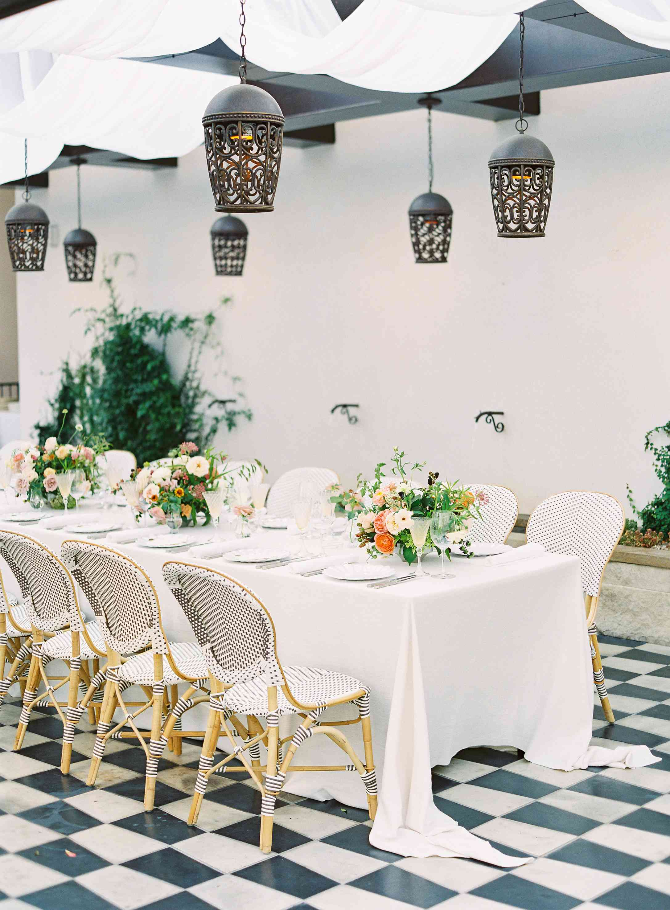 Dinner table at wedding reception