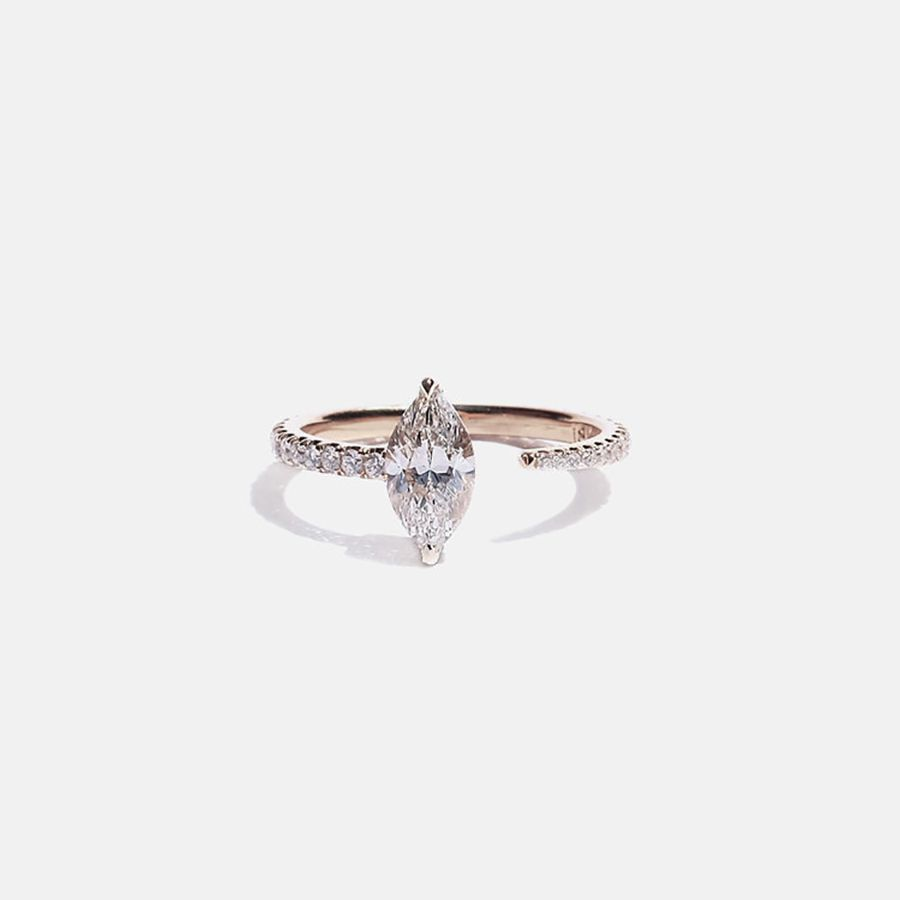 Open rose gold engagement ring