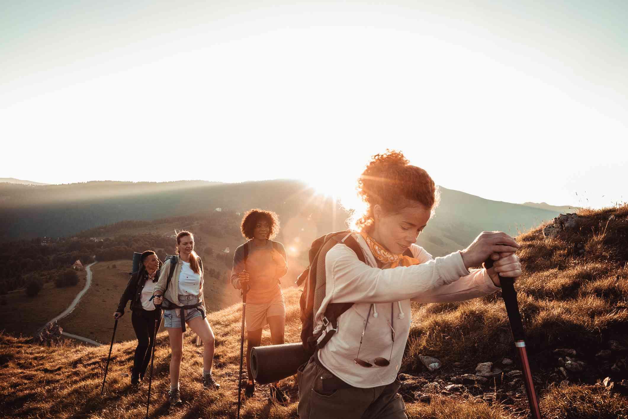Four women hiking