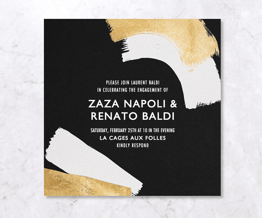 Gold, white, and black engagement party invitation