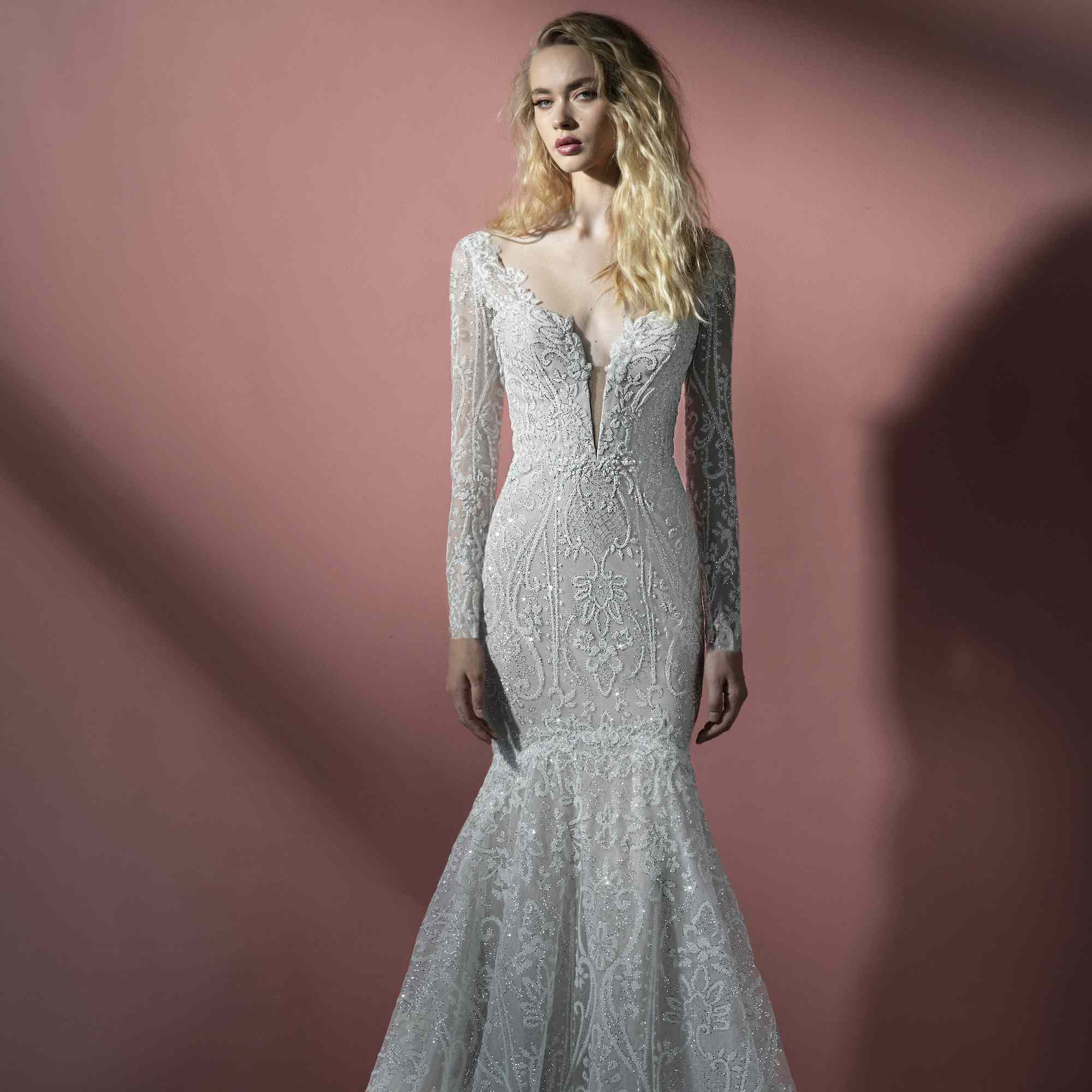 Kit long sleeve fit-and-flare wedding dress