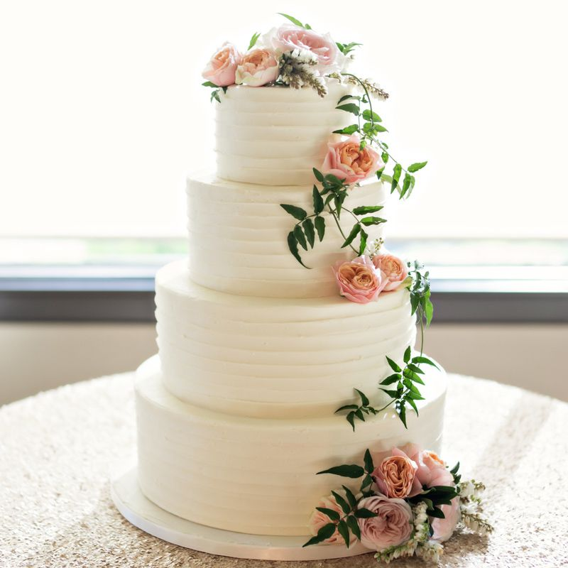 Rustic White Wedding Cake with Pink Flowers
