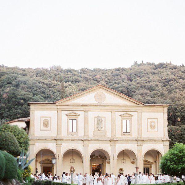 All-white wedding ceremony.