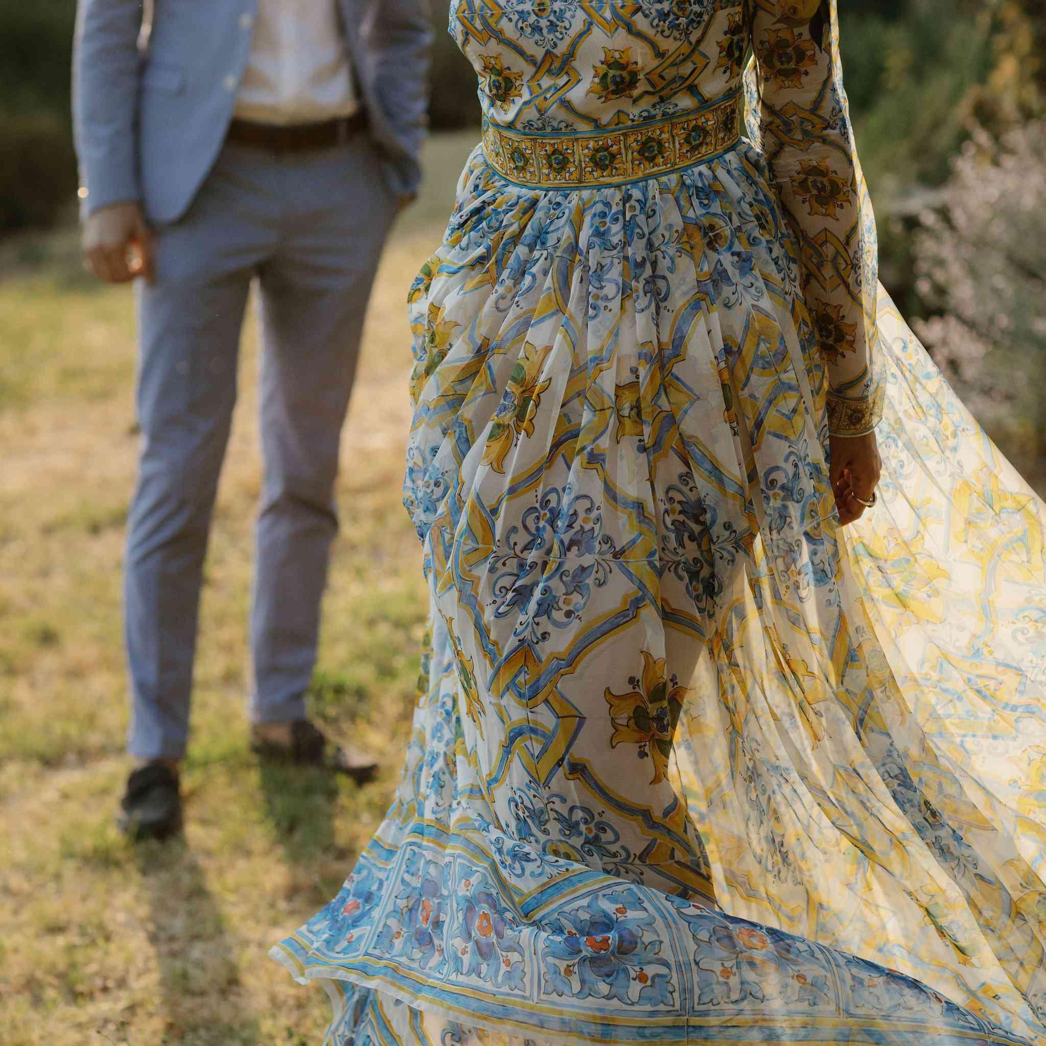 Closeup of bride's dress