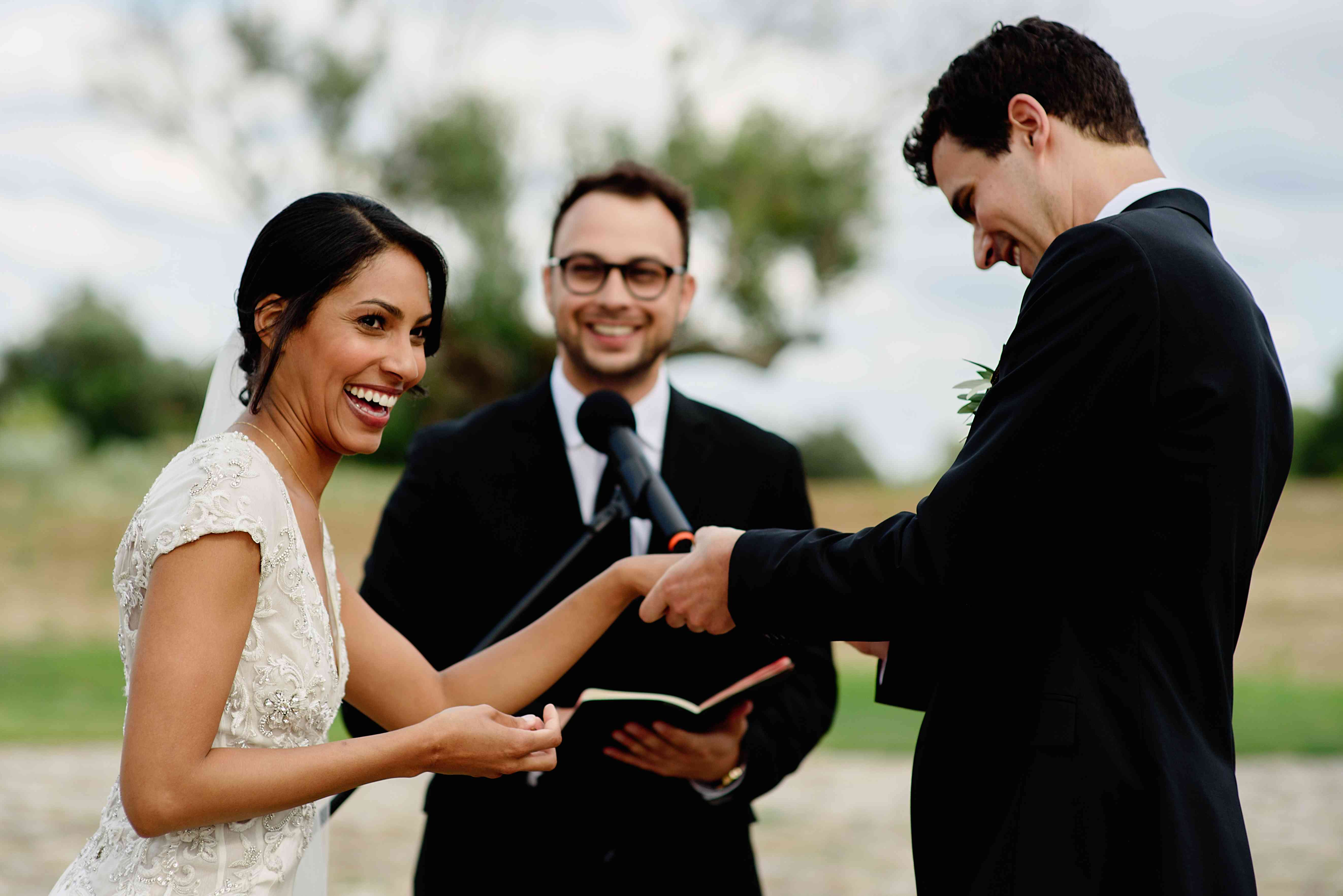 <p>Bride and groom during vows</p><br><br>