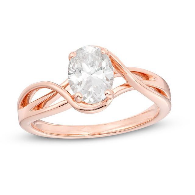 Zales 1 CT. Certified Oval Diamond Split Shank Solitaire Engagement Ring in 14K Rose Gold