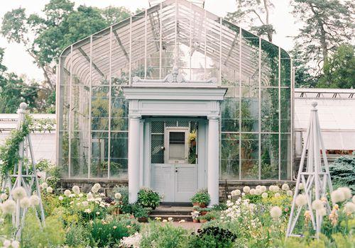greenhouse and surrounding garden