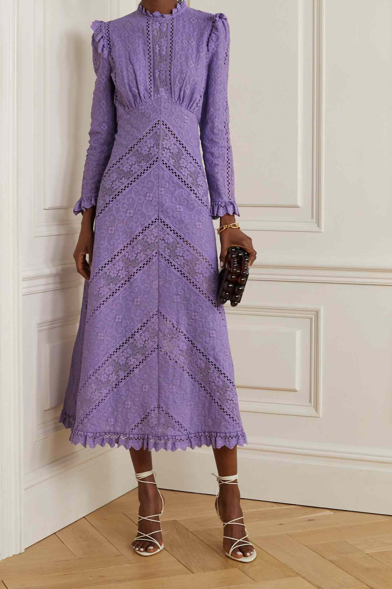 Zimmermann Brighton Paneled Cotton-Blend Lace Midi Dress $750