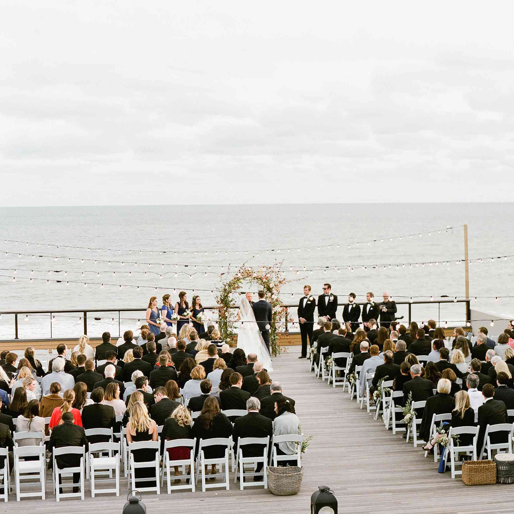 <p>wedding ceremony on a dock</p><br><br>