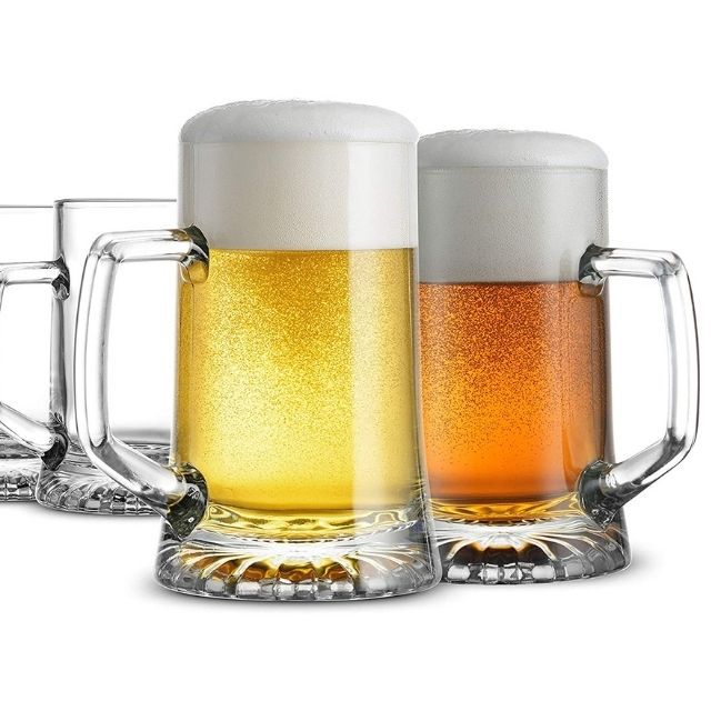 Bormioli Rocco 4-Pack Solid Heavy Large Beer Glasses with Handle