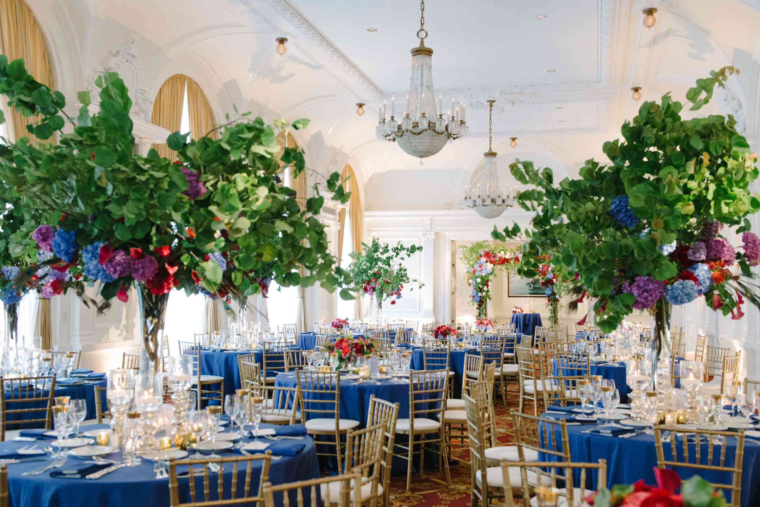 colorful tree centerpieces