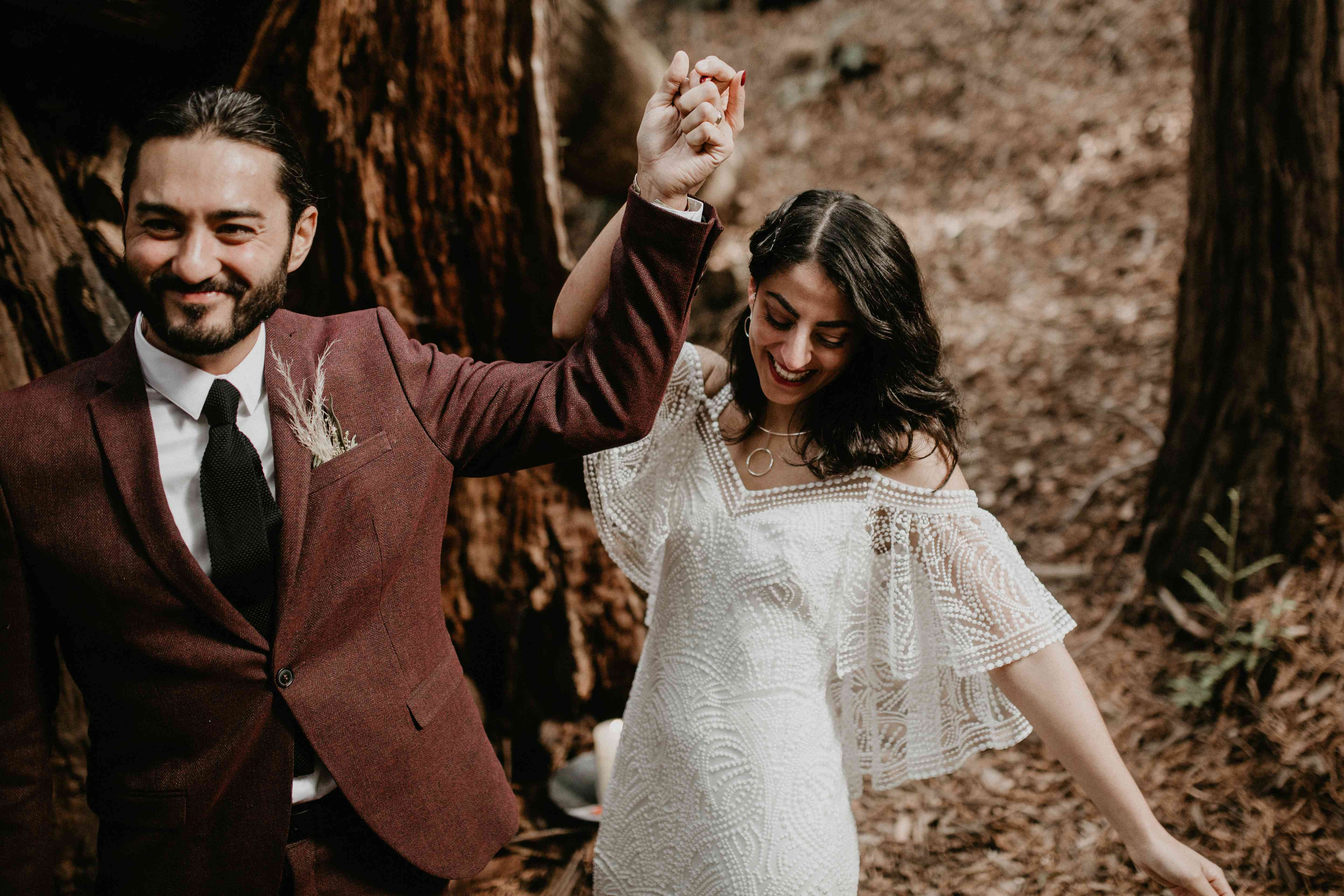 <p>ceremony exit bride and groom smiling</p><br><br>