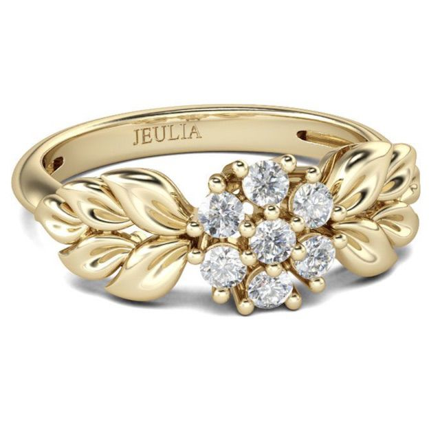 Jeulia Jeulia Leaf And Flower Design Round Cut Sterling Silver Ring