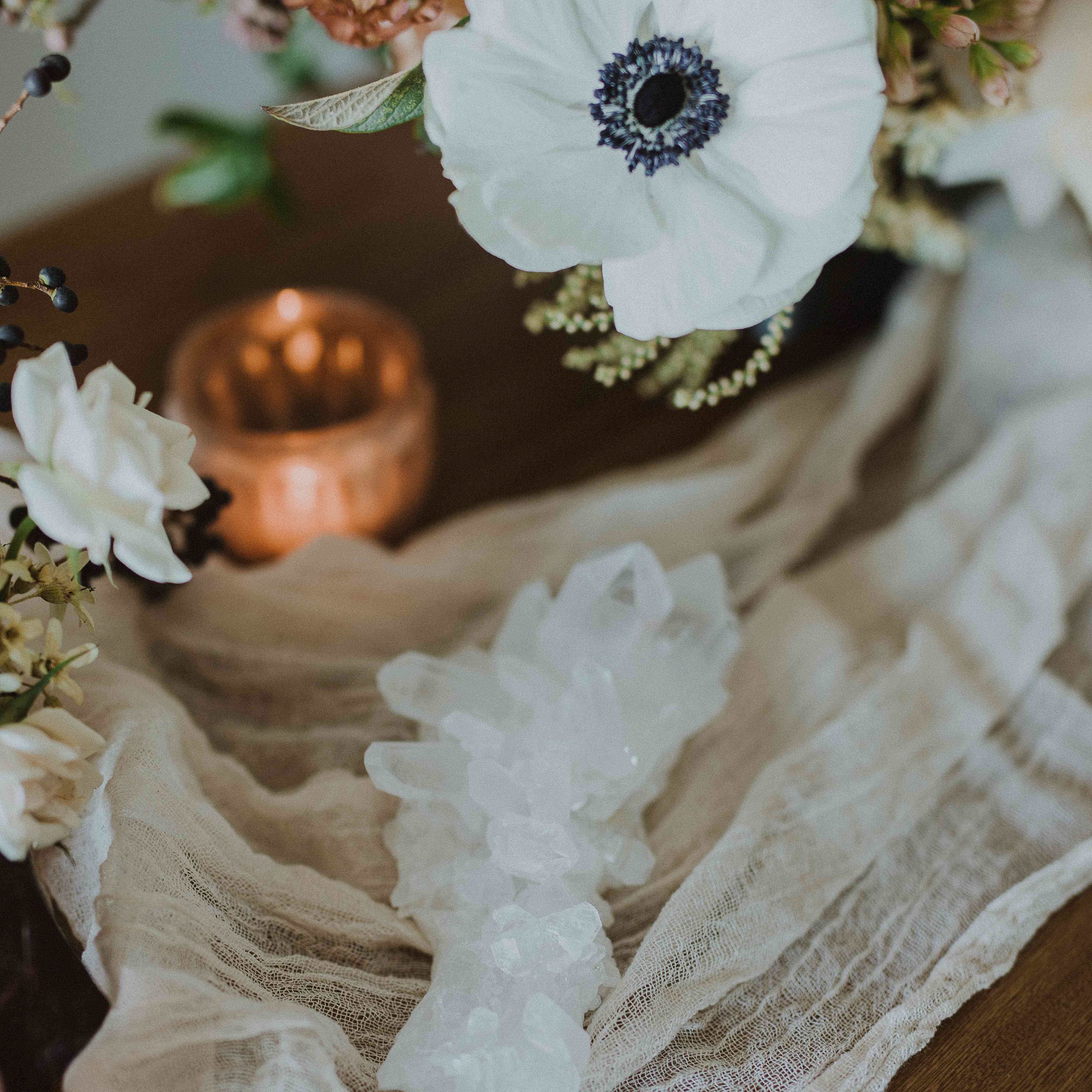 Flowers and Crystals on Table Setting