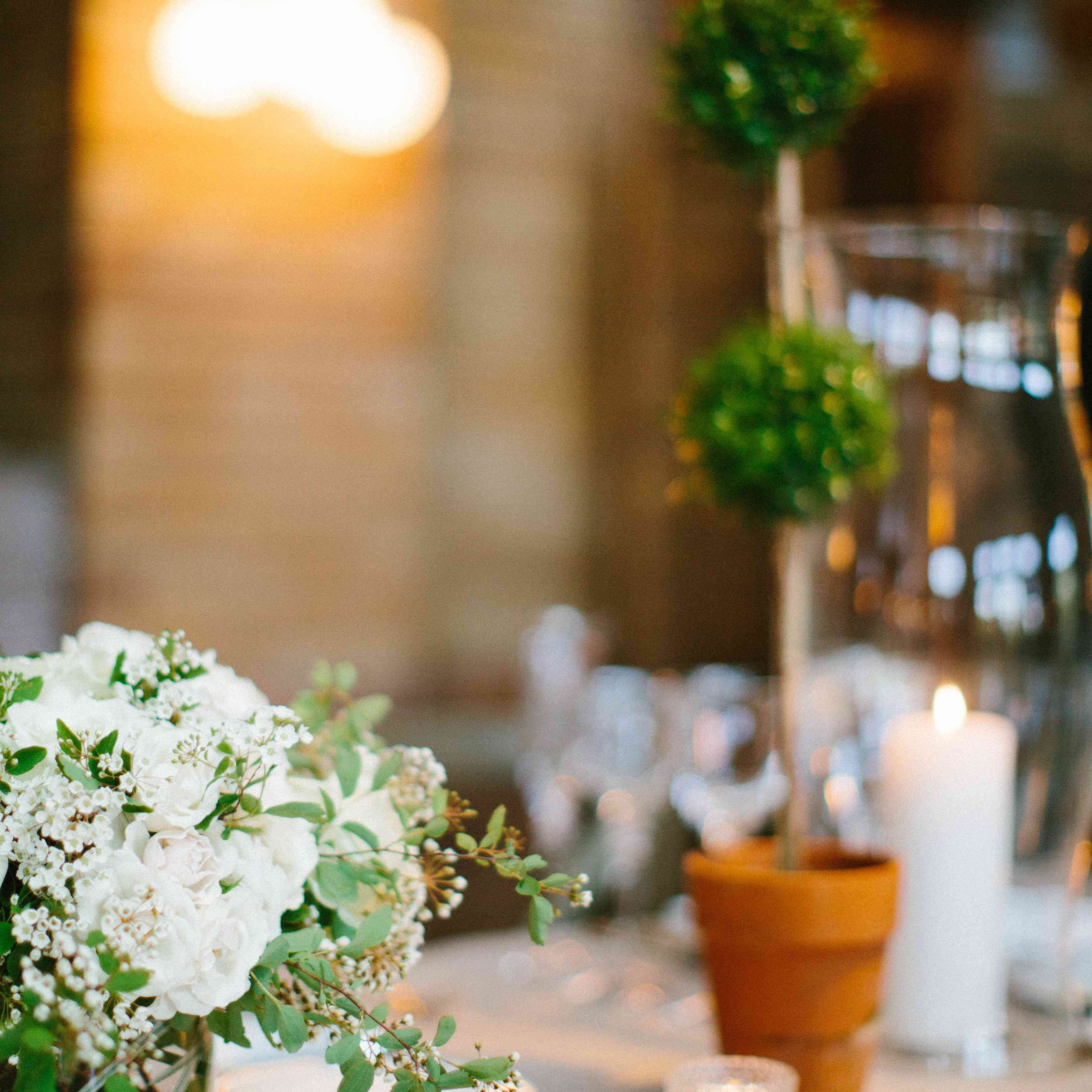 White Flower and Greenery Centerpieces