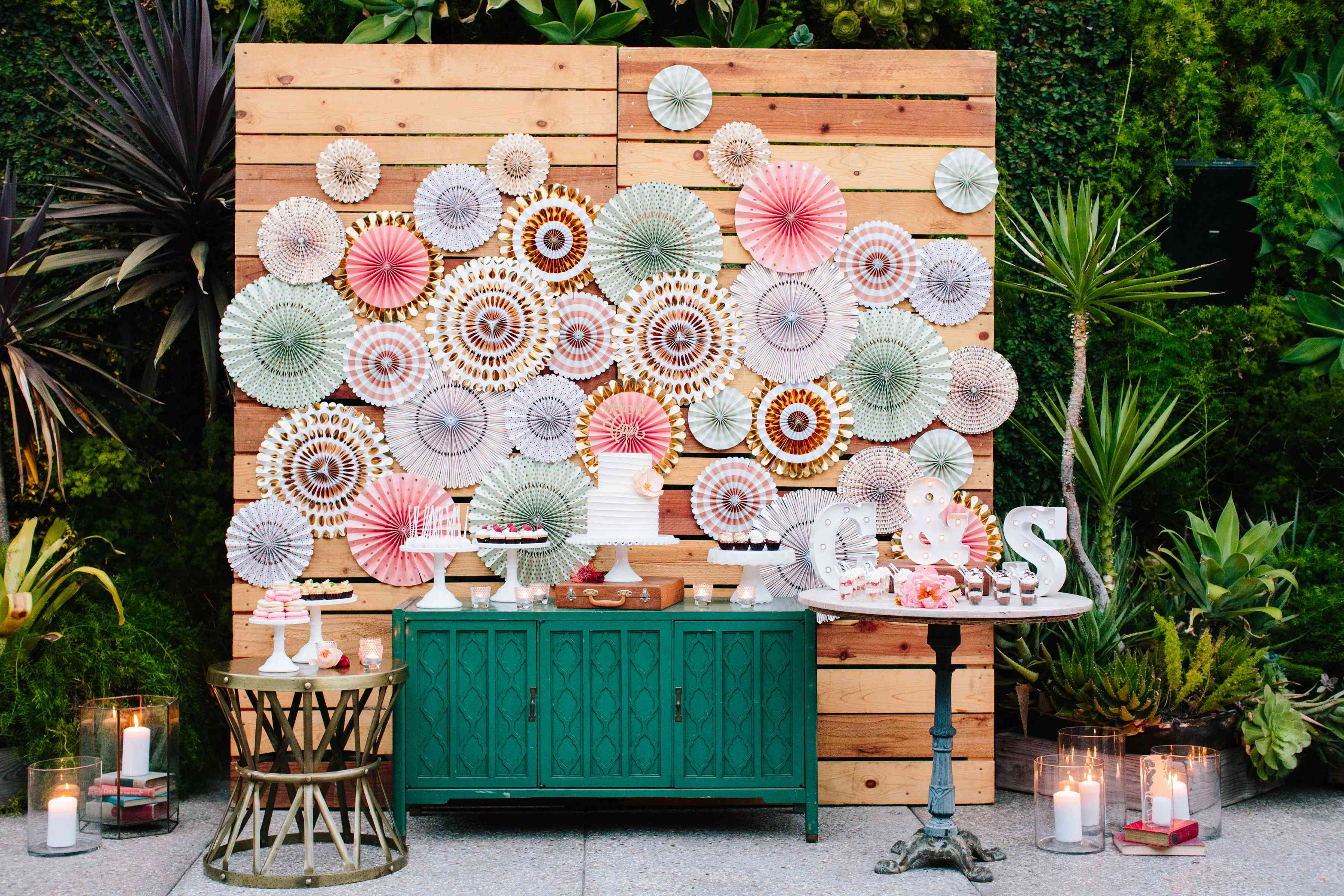 Colorful cake table