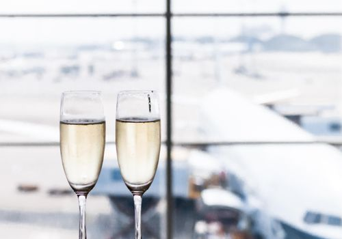 champagne glasses at airport