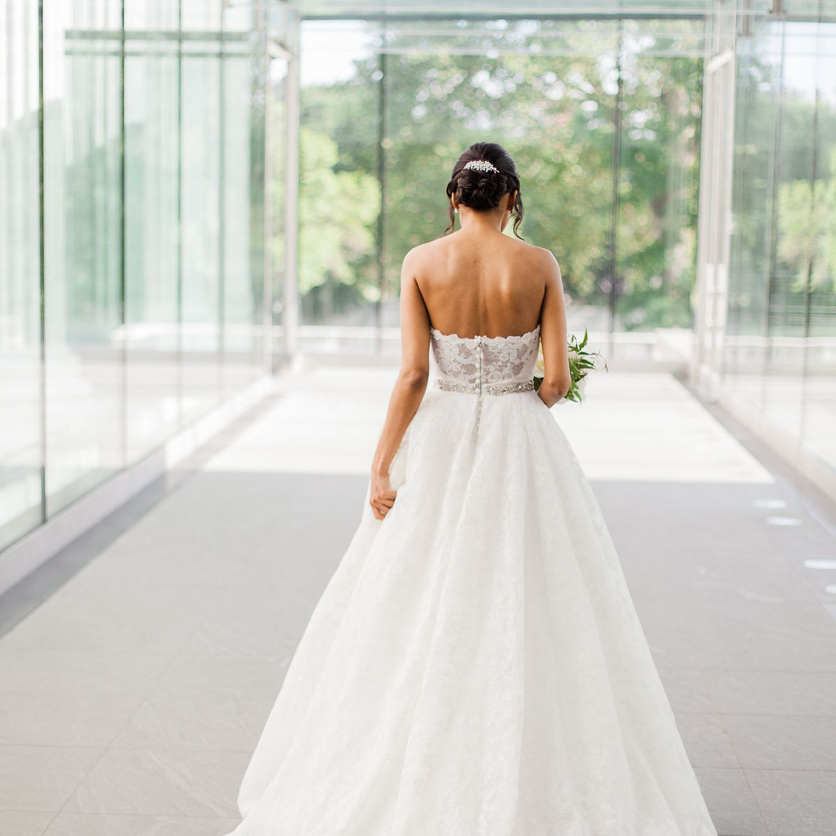 Solo bride shot from back