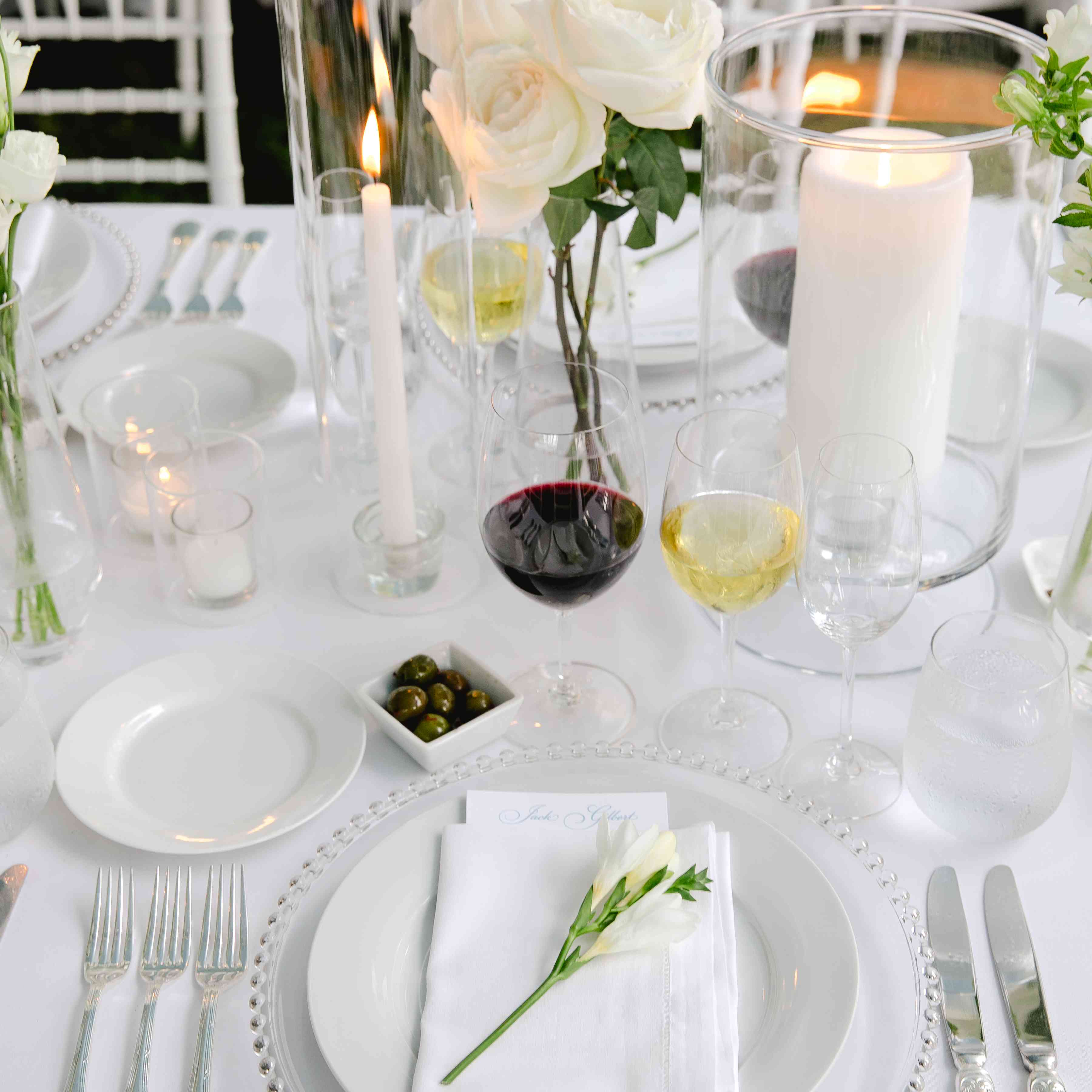 all white place setting