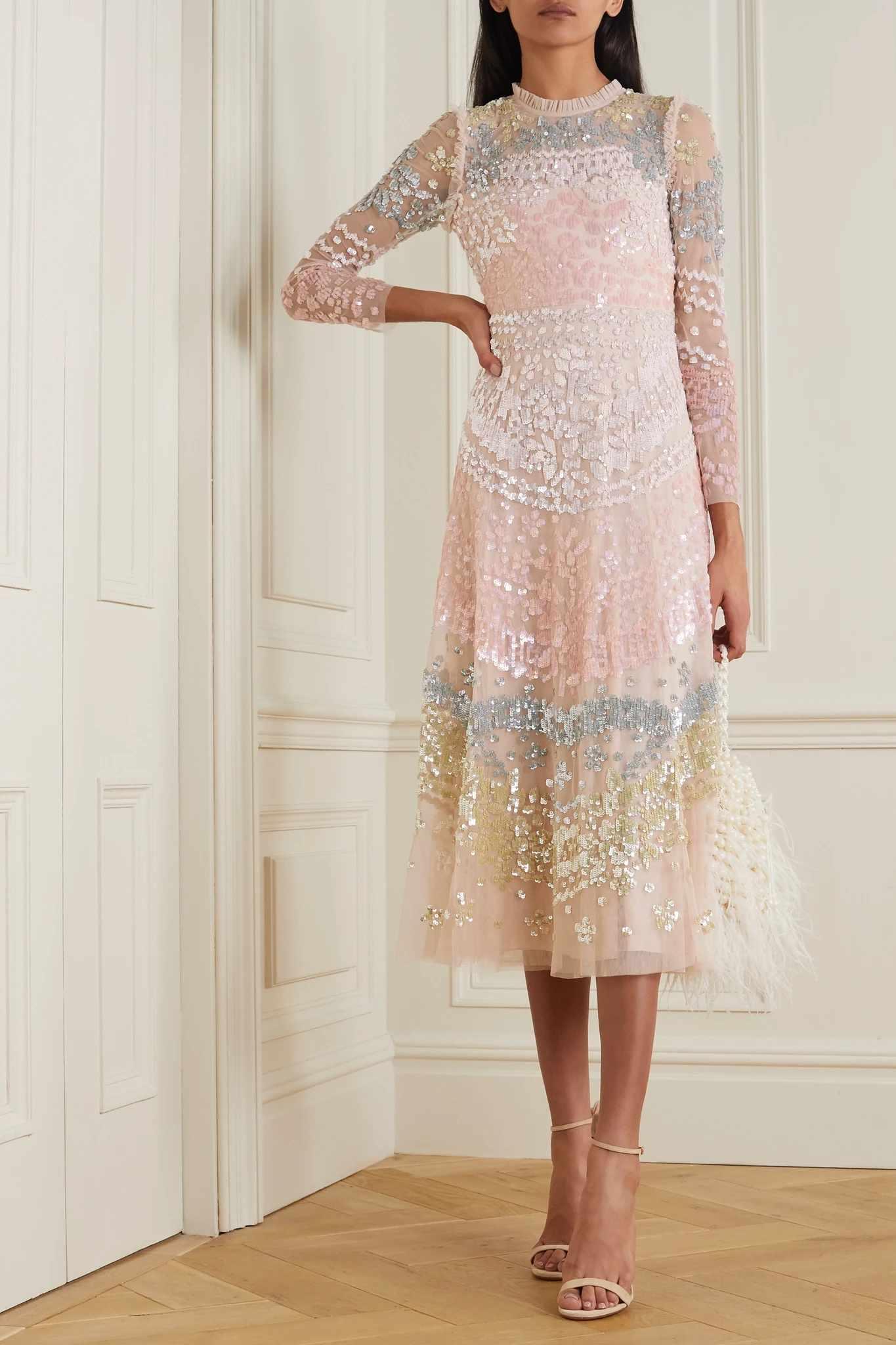 pastel sequin dress