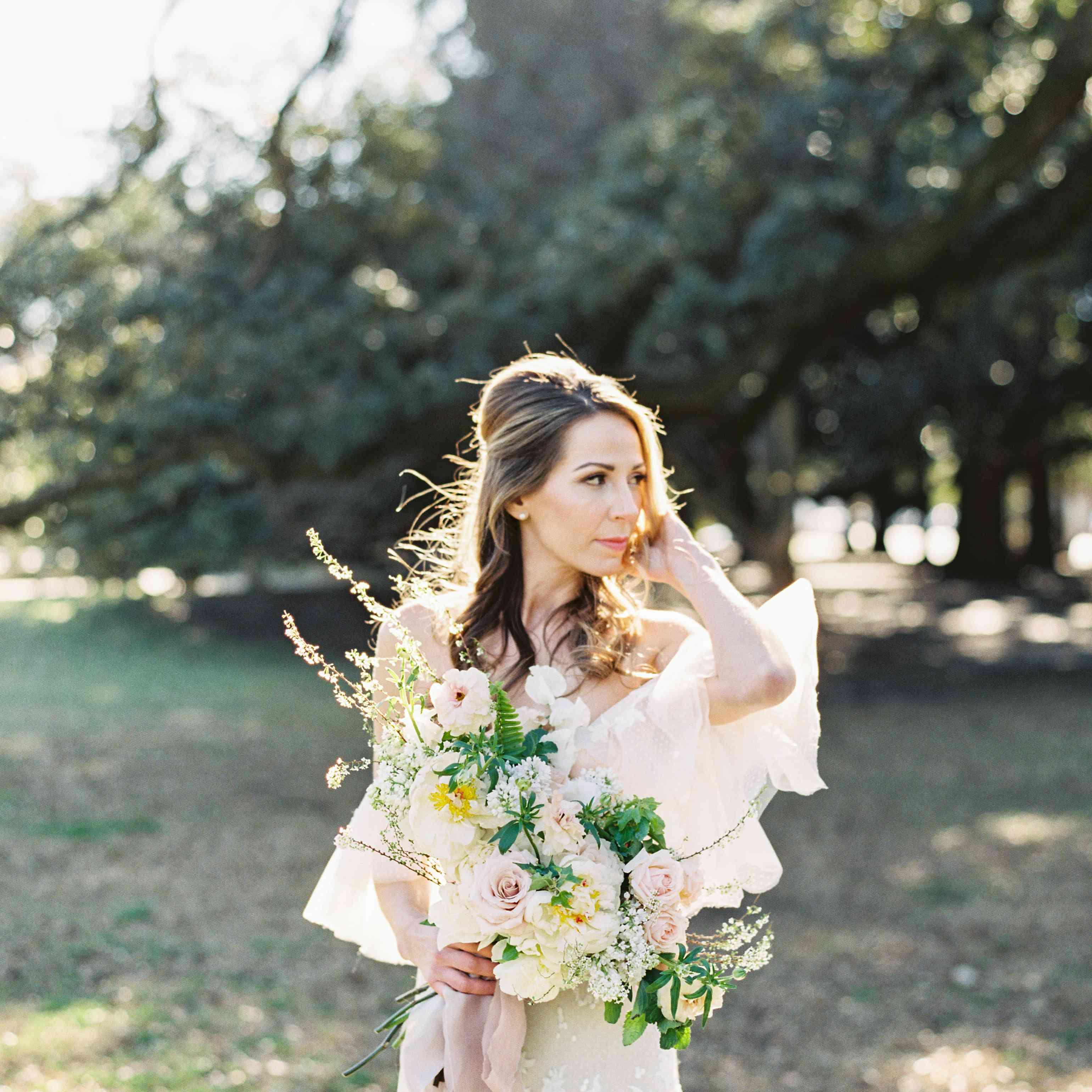 <p>bride with wedding bouquet</p><br><br>