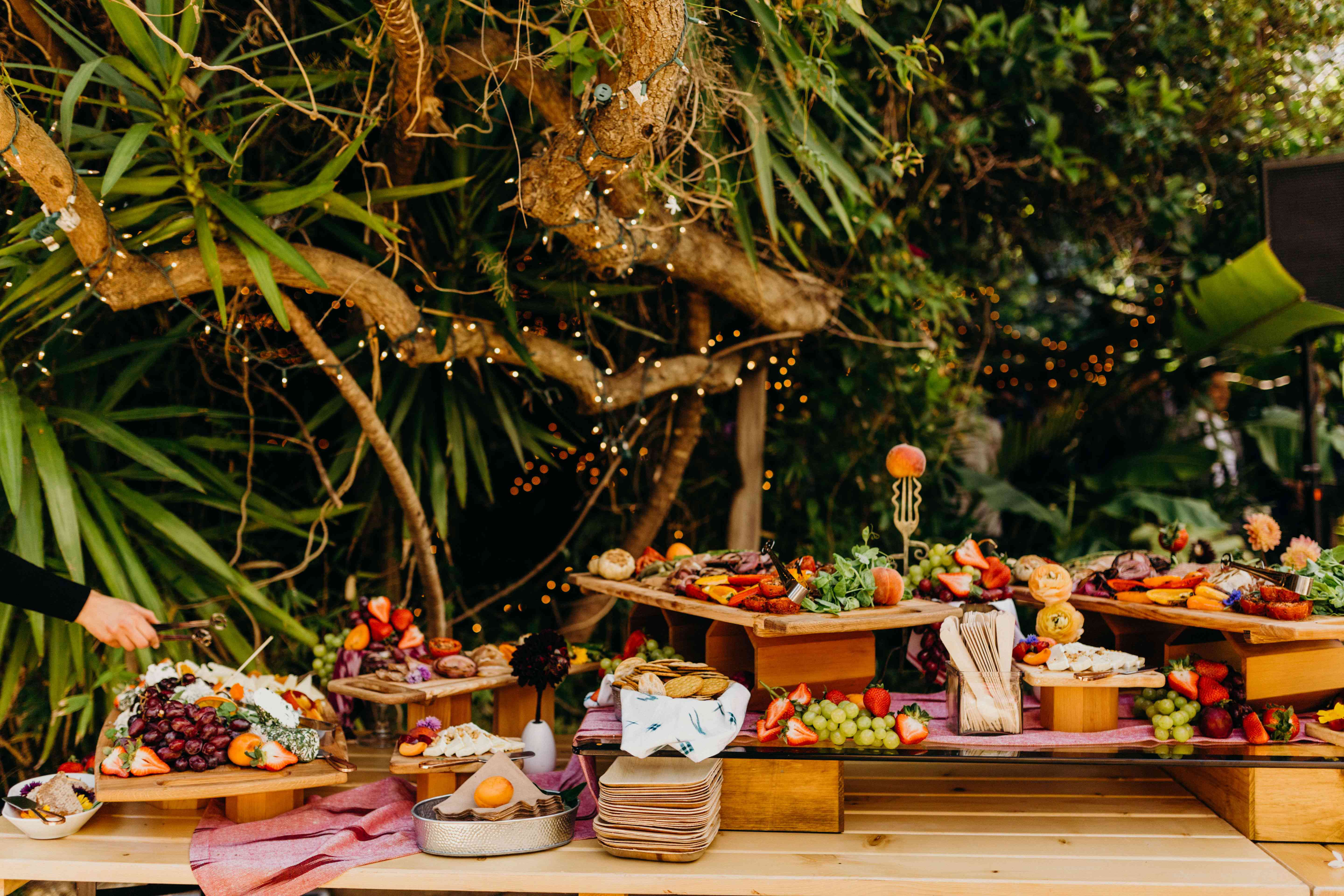 Grazing table with bright fruits