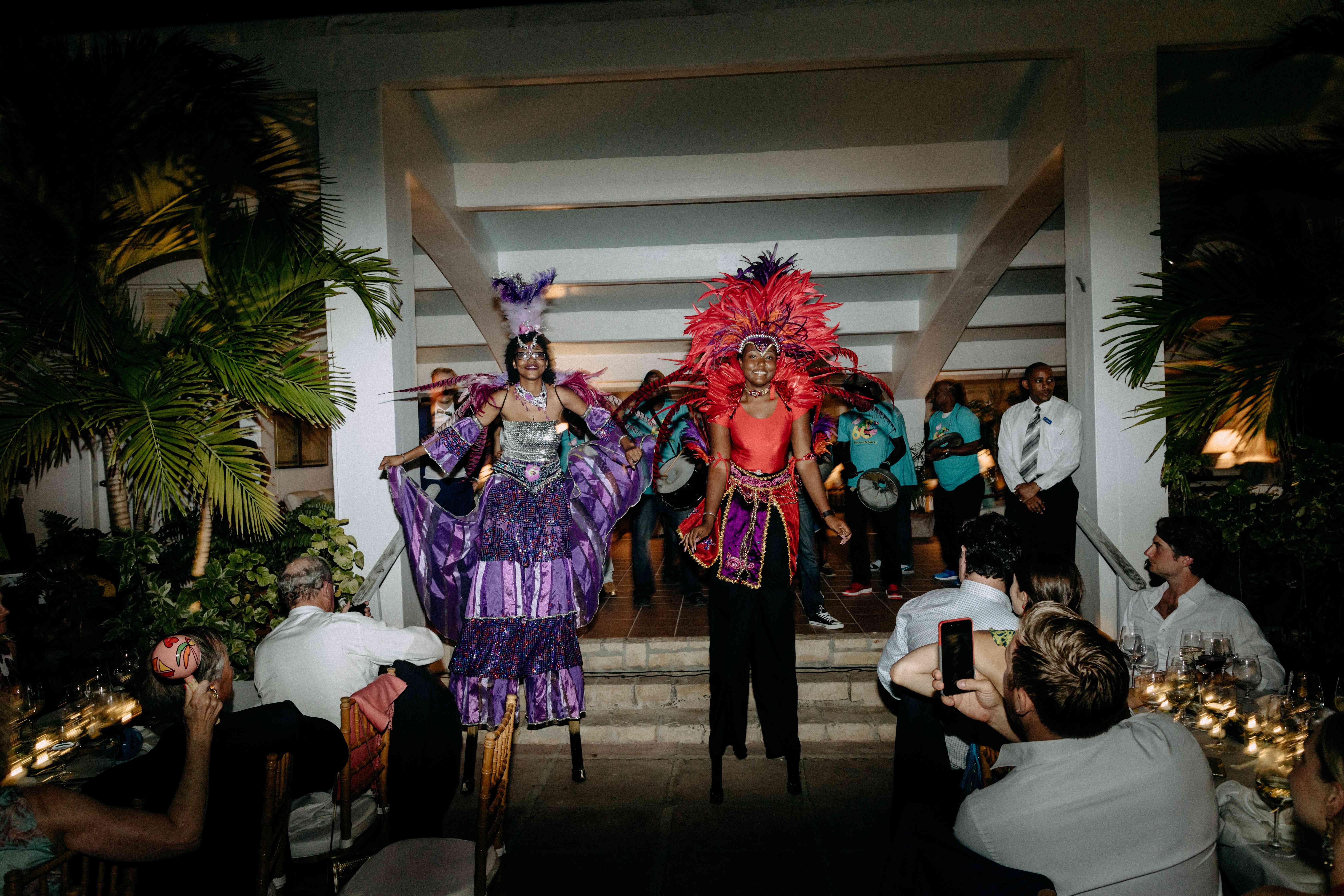 stilt walkers Caribbean wedding