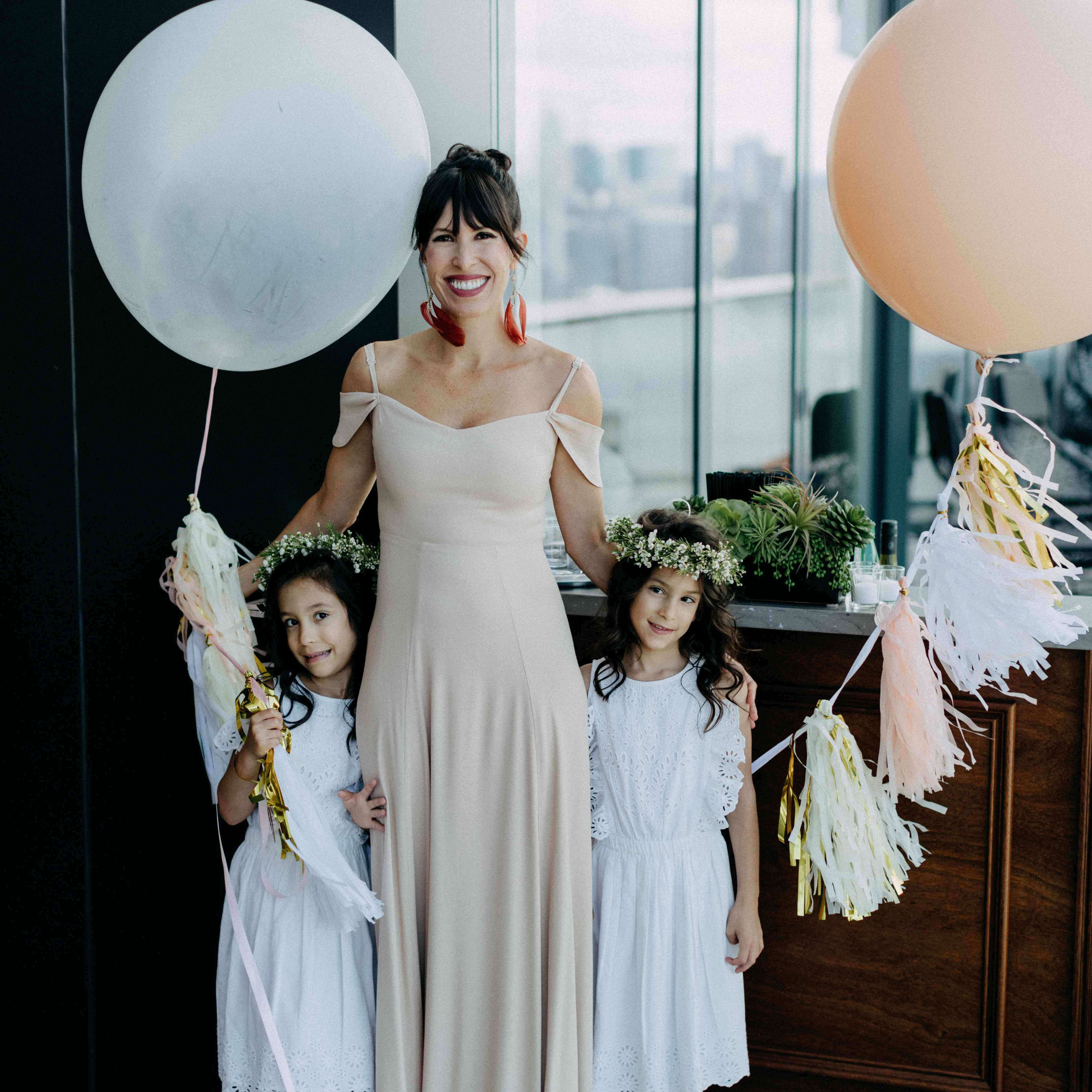 Bridesmaid with flower girls
