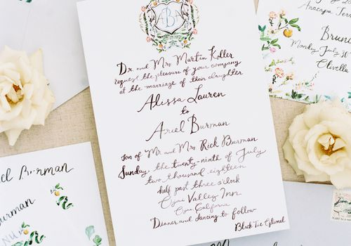 calligraphy invites with white roses