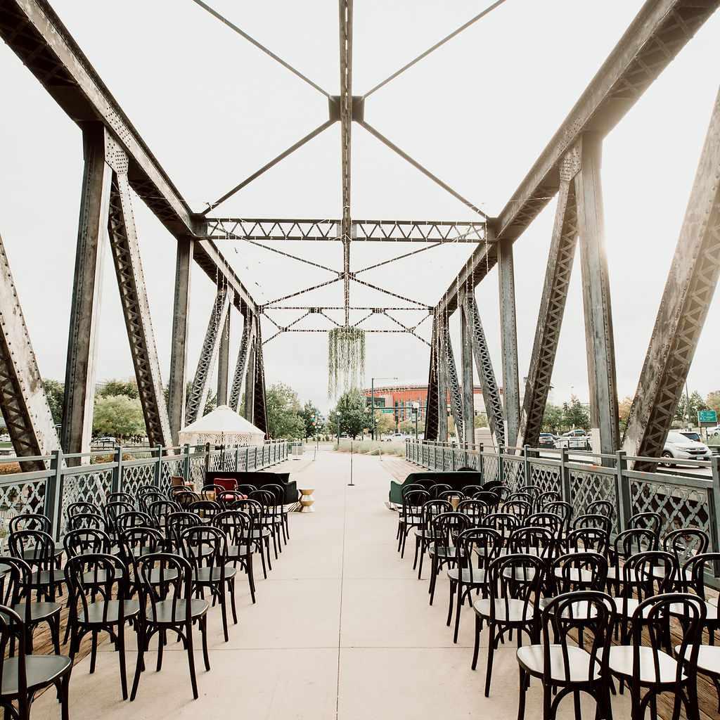 Wewatta Bridge set up for the wedding ceremony