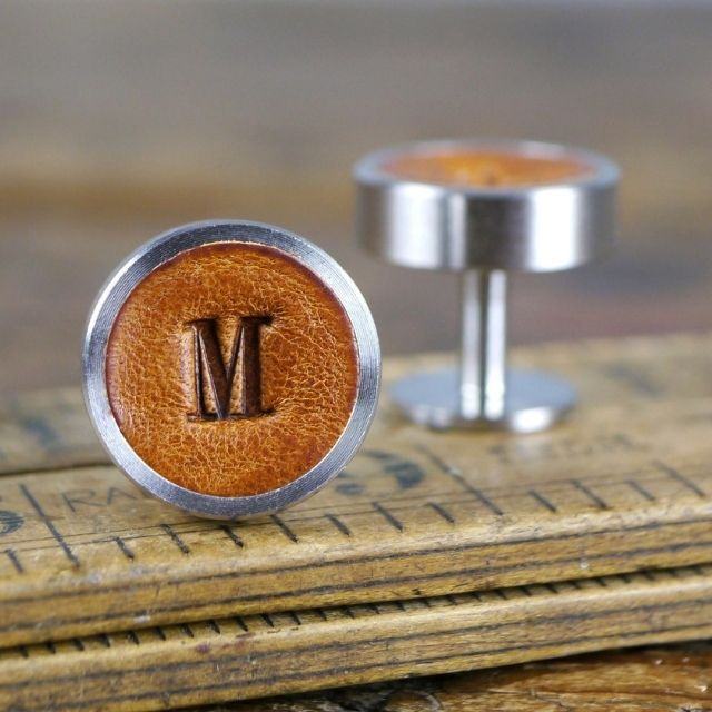 Kingsley Leather Personalized Leather Cuff Links from Etsy