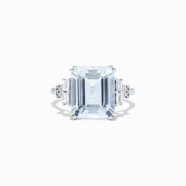 Effy Aquarius White Gold Aquamarine and Diamond Ring
