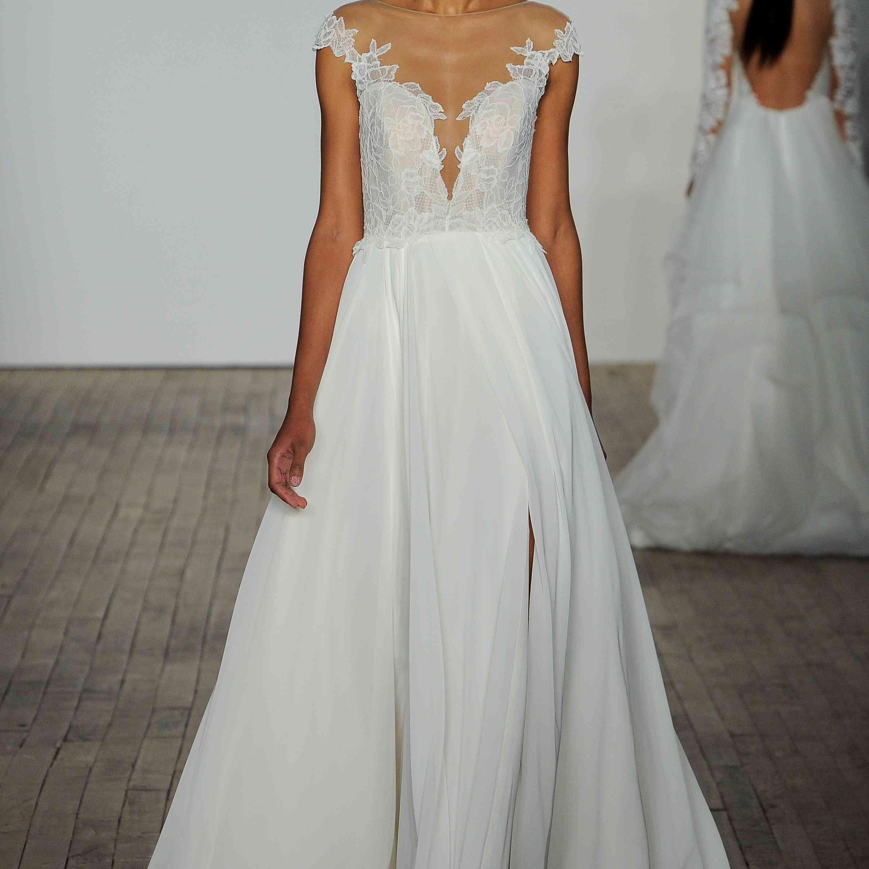 Soleil short sleeve wedding dress