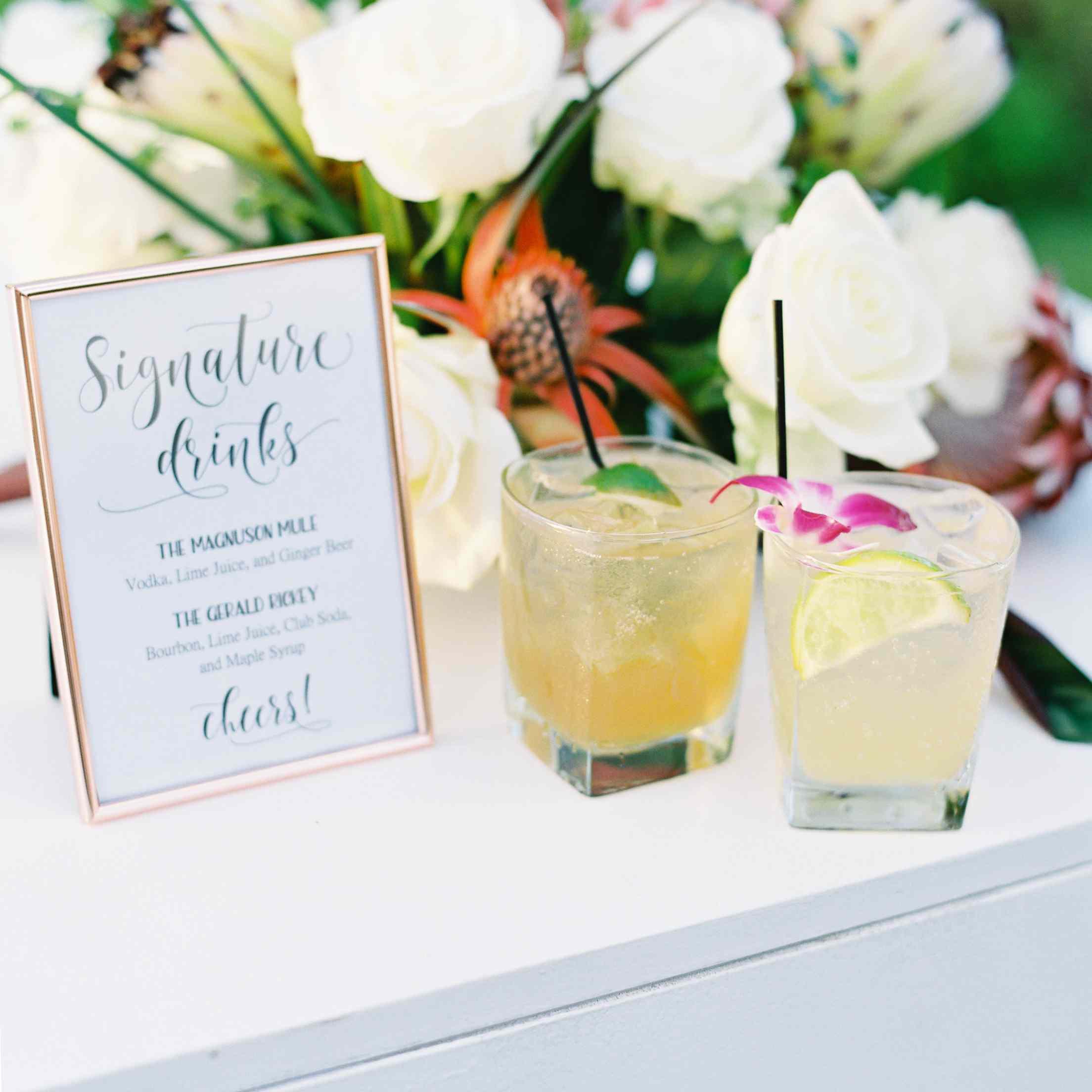 tropical maui wedding, cocktail hour signature cocktails