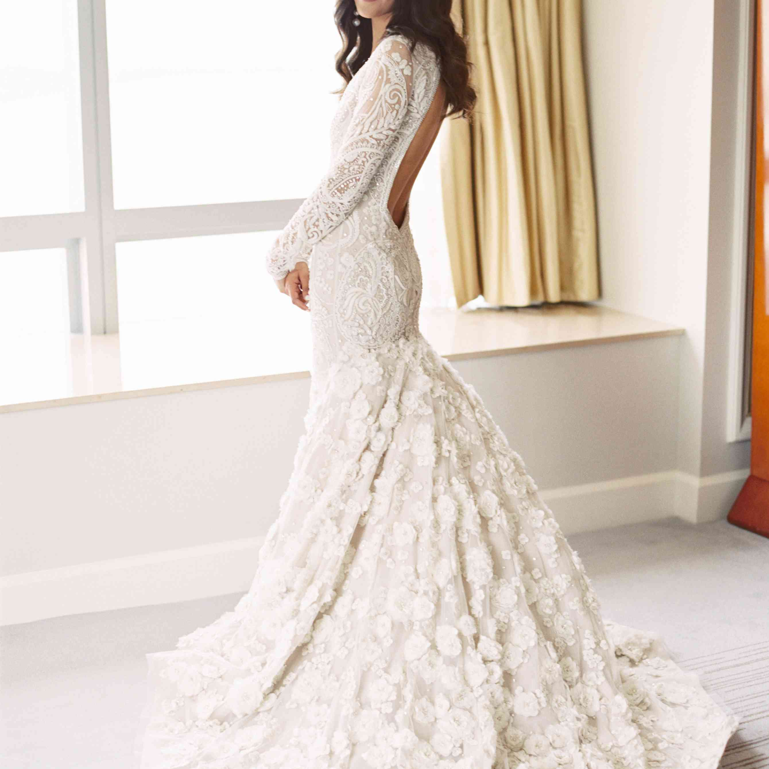 Bride in Backless Lace Wedding Dress