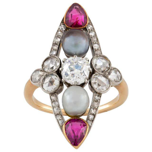 pearl, ruby and diamond navette-shaped ring