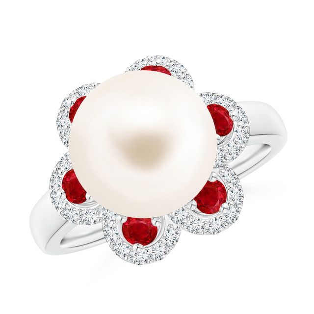 pearl ring with ruby and diamond accents