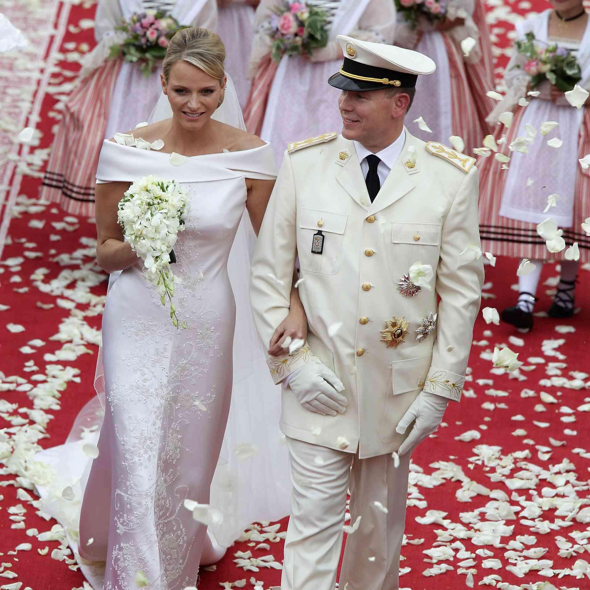 Princess Charlene of Monaco and Prince Albert II on their wedding day