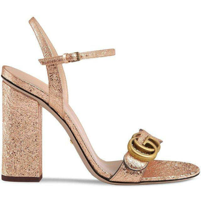 High block heeled rose gold metallic Gucci open-toed shoes