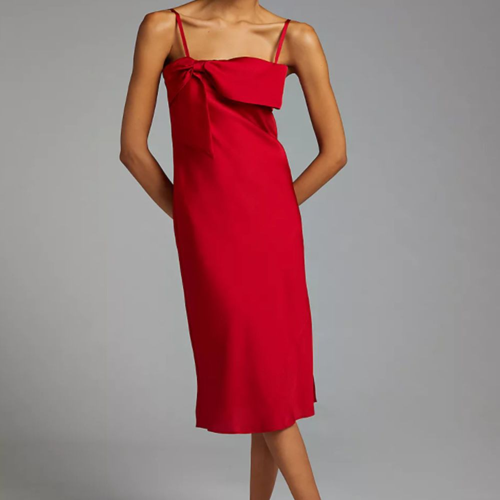 red bow front dress