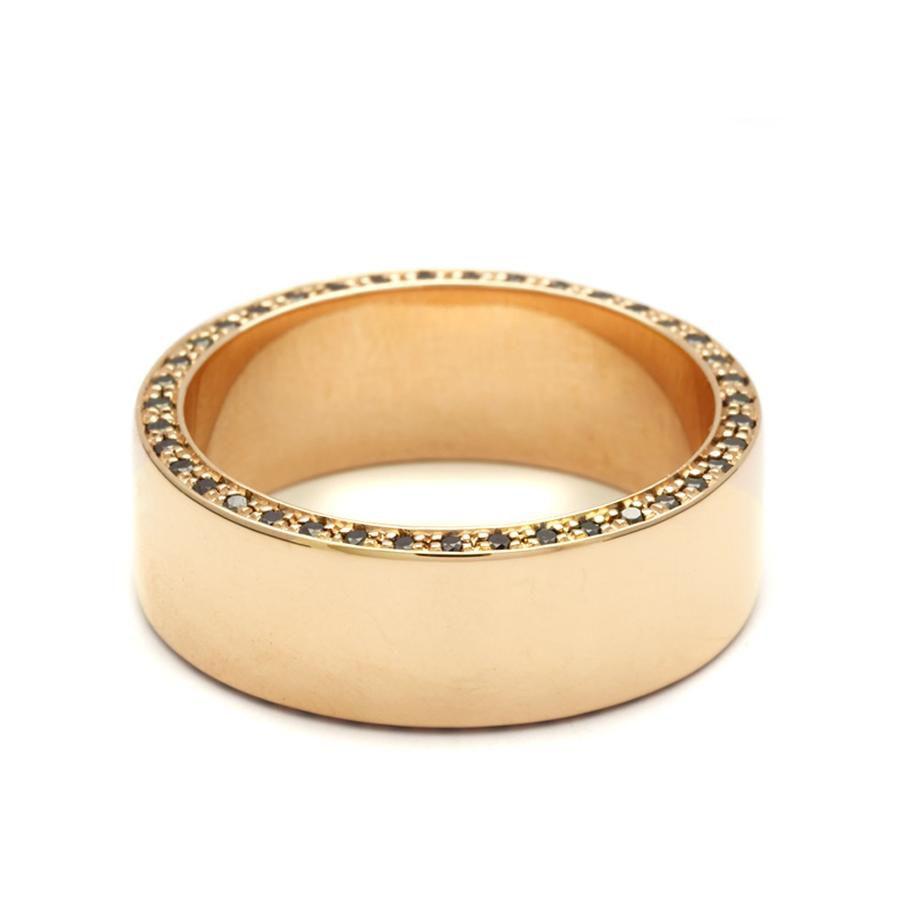 Anna Sheffield Yellow Gold and Black Diamonds Ring