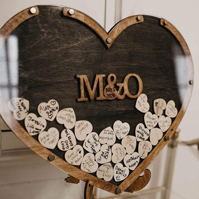WoodenCustomGift Heart Drop Guestbook Display