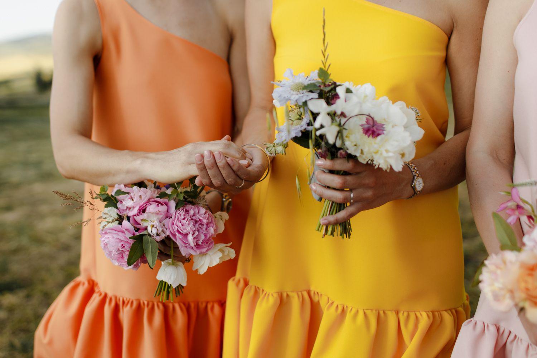 bridesmaids passing rings